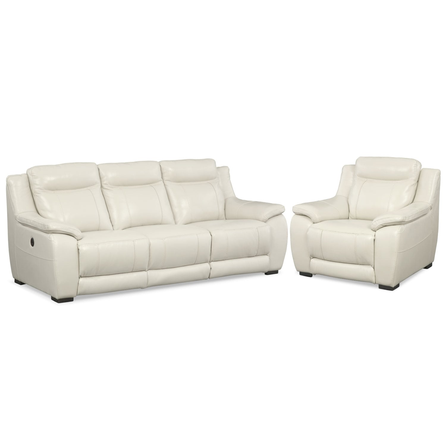 Lido Power Reclining Sofa and Recliner Set - Ivory