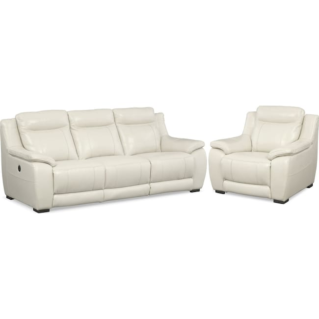 Living Room Furniture - Lido Power Reclining Sofa and Recliner Set - Ivory