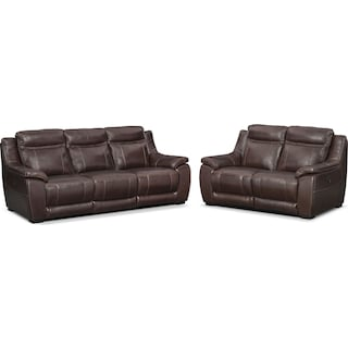 Lido Power Reclining Sofa and Reclining Loveseat Set - Brown