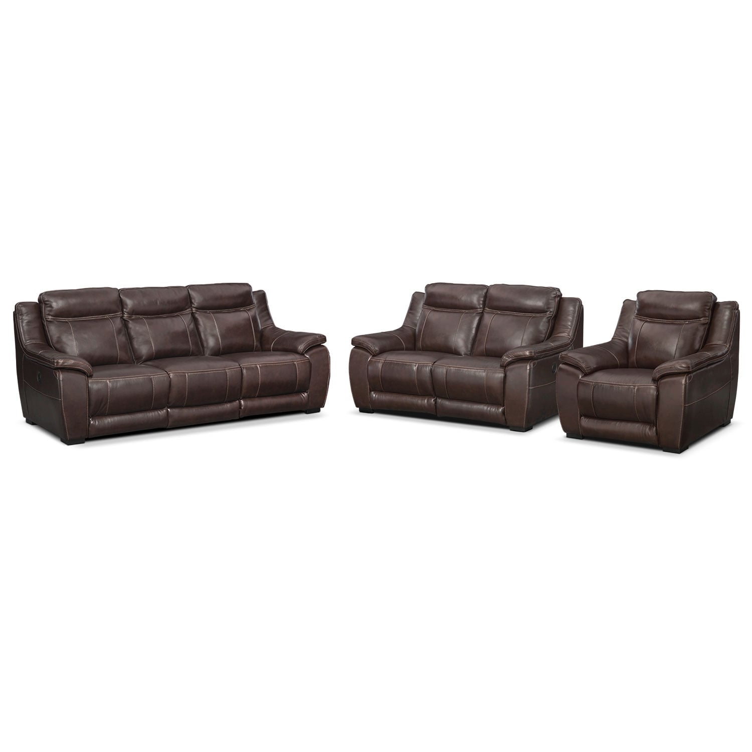 Lido Power Reclining Sofa, Reclining Loveseat and Recliner Set - Brown