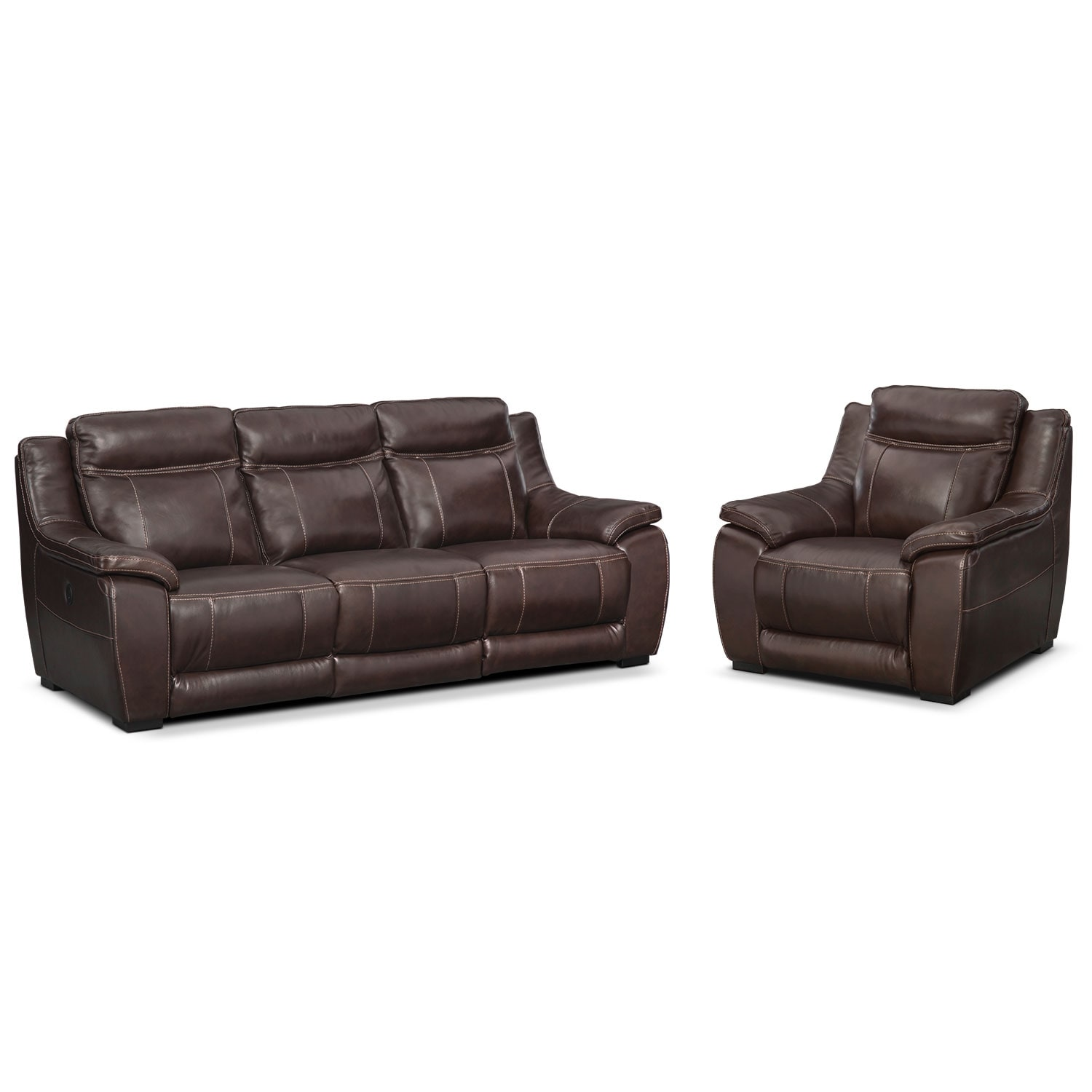 Living Room Furniture - Lido Brown 2 Pc. Power Reclining Living Room w/ Power Recliner