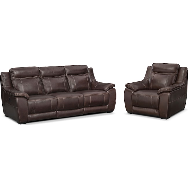 Living Room Furniture - Lido Power Reclining Sofa and Recliner Set - Brown
