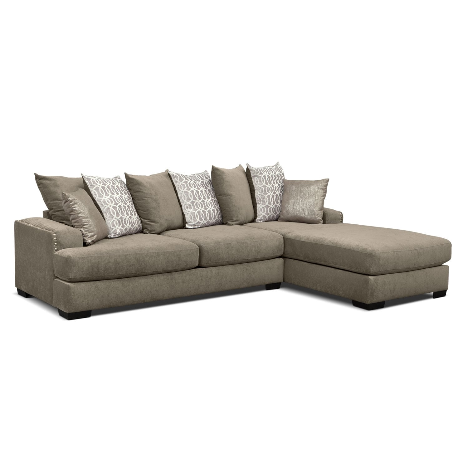 Tempo 2 Piece Sectional with Right Facing Chaise Platinum