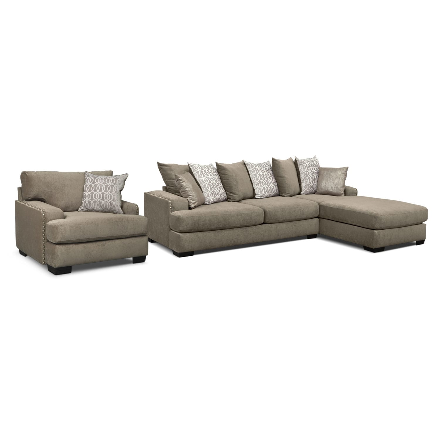 Tempo 2-Piece Sectional with Right-Facing Chaise and Chair Set - Platinum
