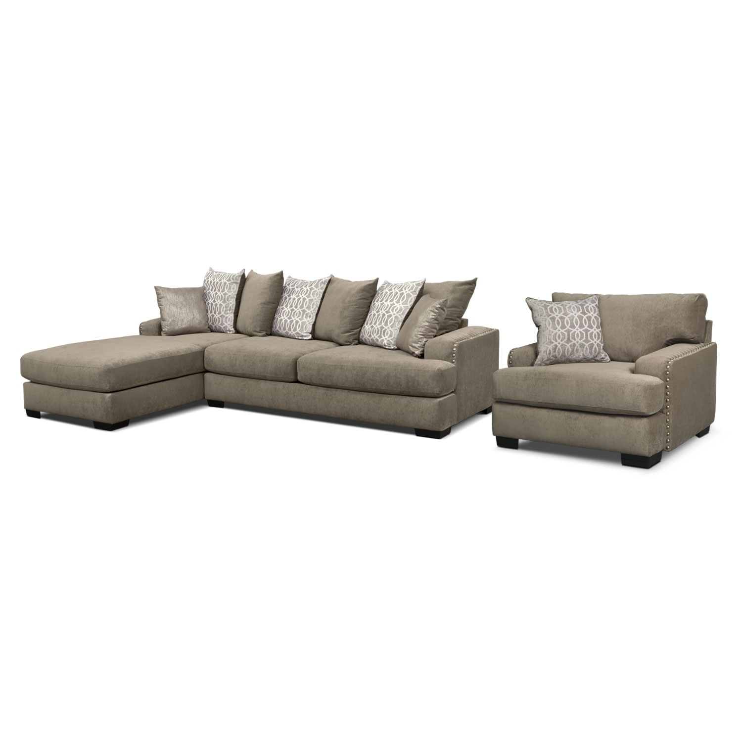 Living Room Furniture - Tempo 2 Pc. Sectional with Left-Facing Chaise w/ Chair