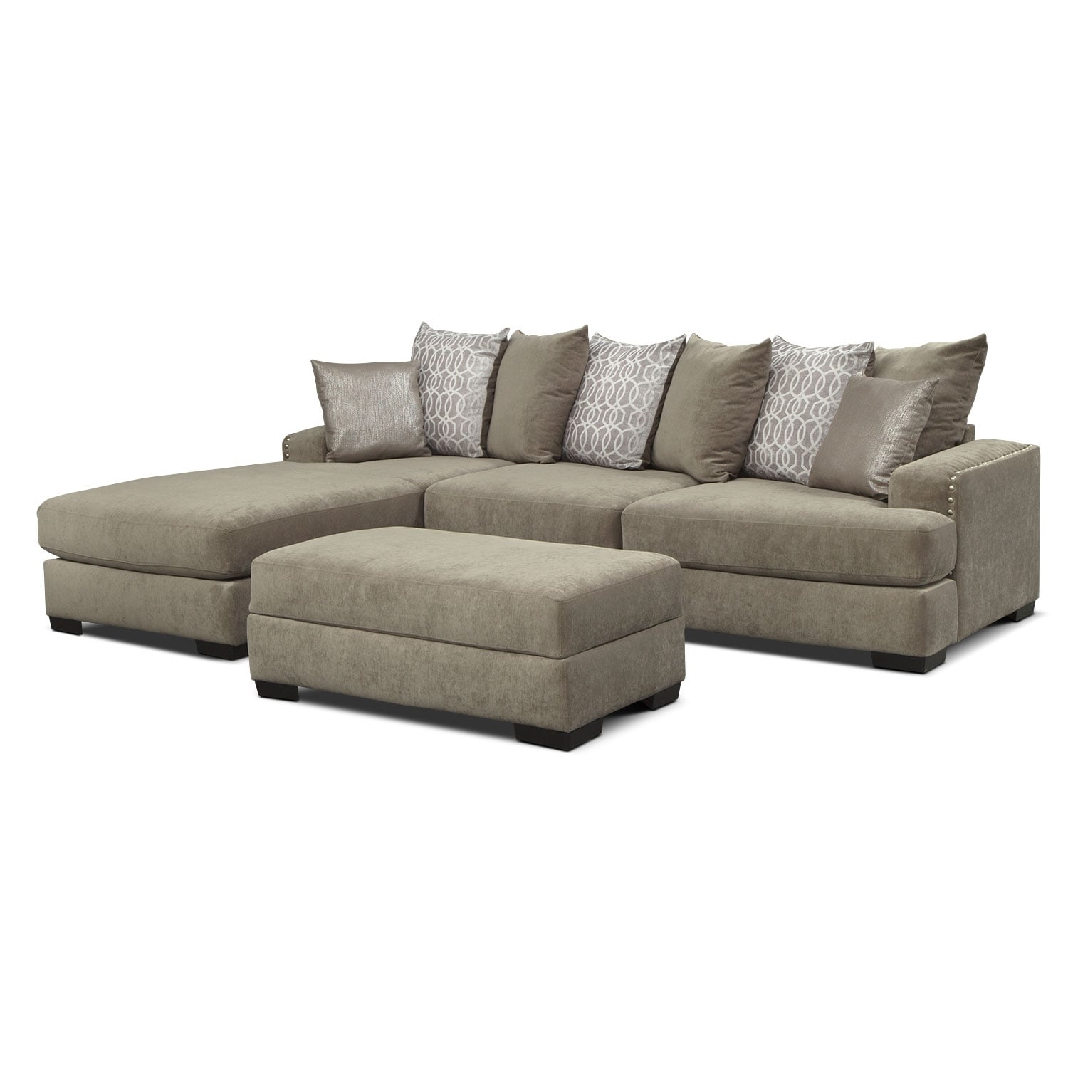 Living Room Furniture - Tempo 2-Piece Sectional with Left-Facing Chaise and Ottoman Set - Platinum