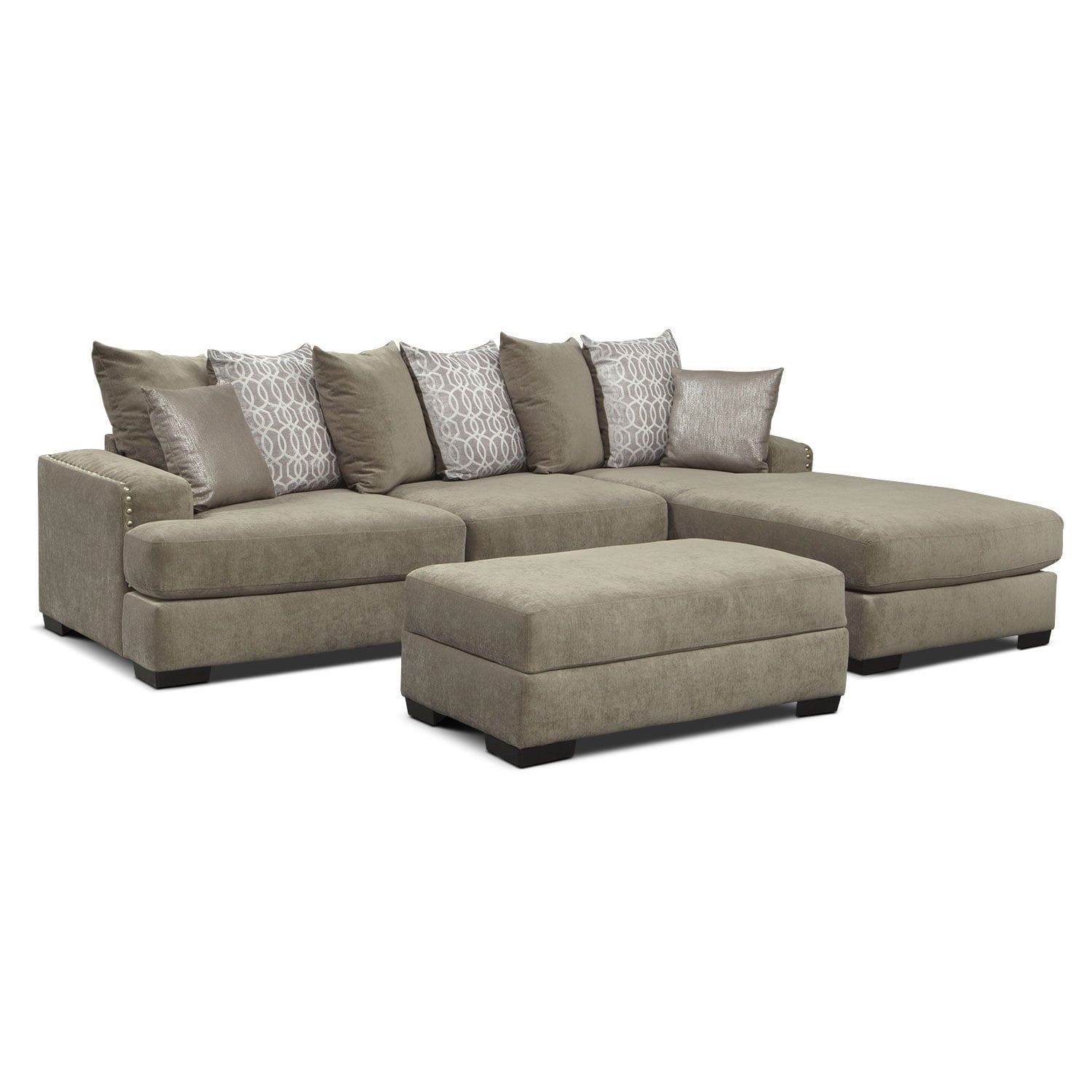 the tempo sectional collection - platinum | value city furniture