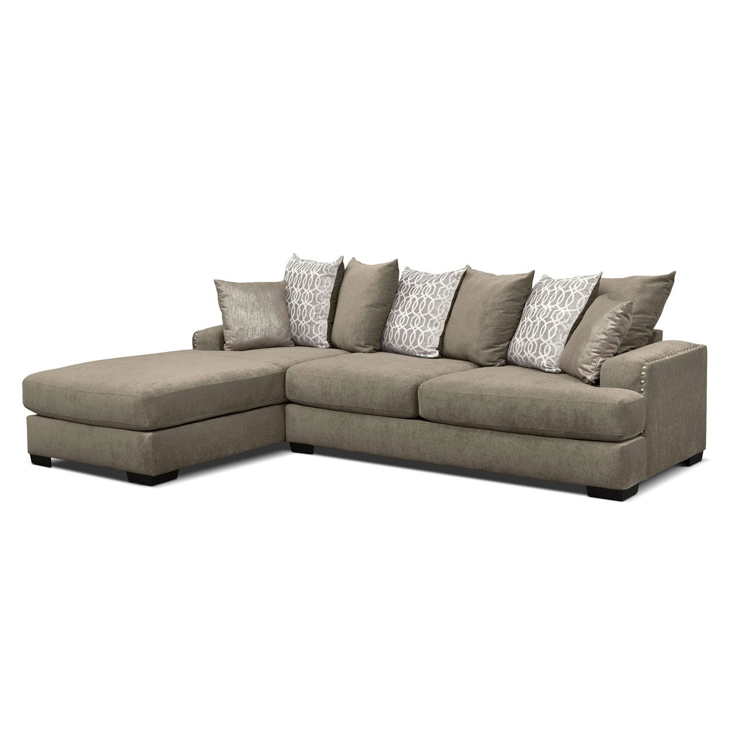 Tempo 2 Piece Sectional with Left Facing Chaise Platinum