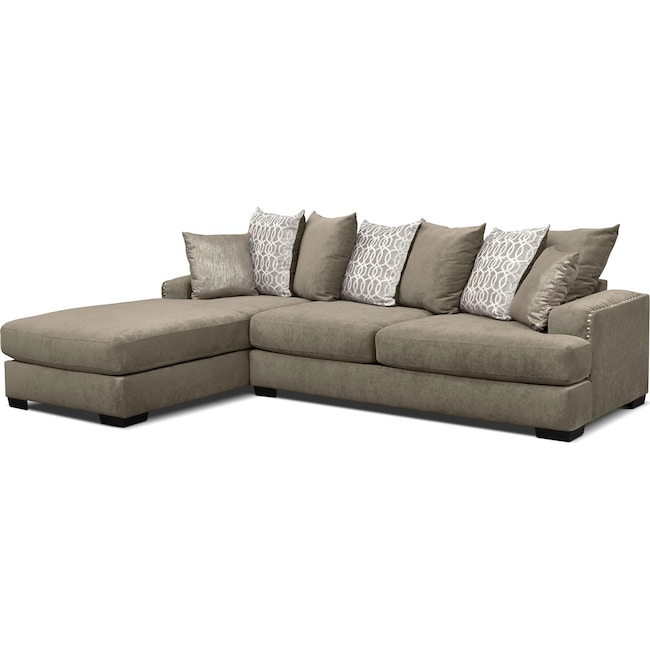 Living Room Furniture - Tempo 2-Piece Sectional with Left-Facing Chaise - Platinum