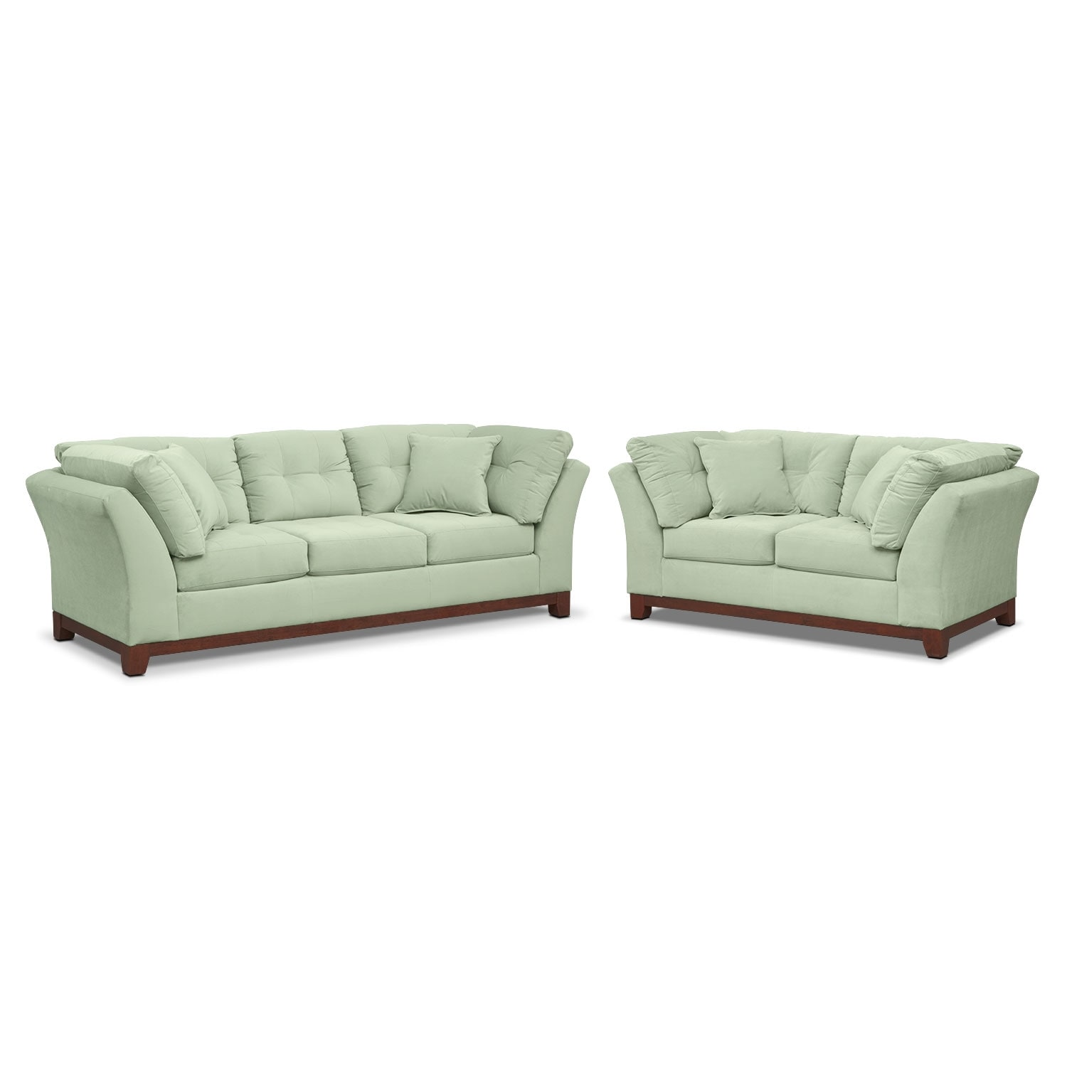 Living Room Furniture - Sebring Sofa and Loveseat Set - Spa