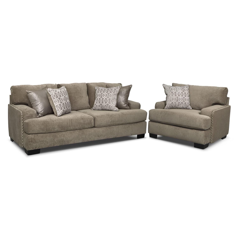 Tempo Sofa and Chair Set Platinum