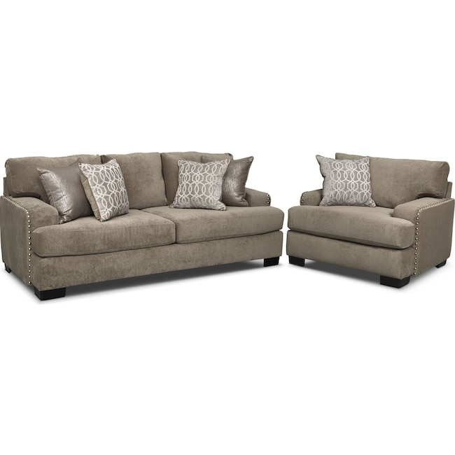 Living Room Furniture - Tempo Sofa and Chair Set - Platinum