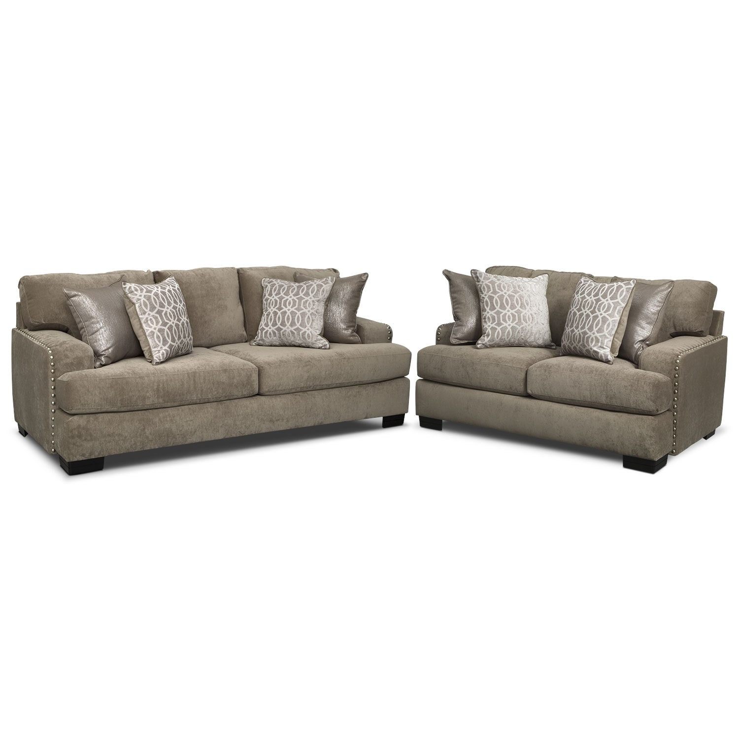Living Room Furniture - Tempo Sofa and Loveseat Set - Platinum