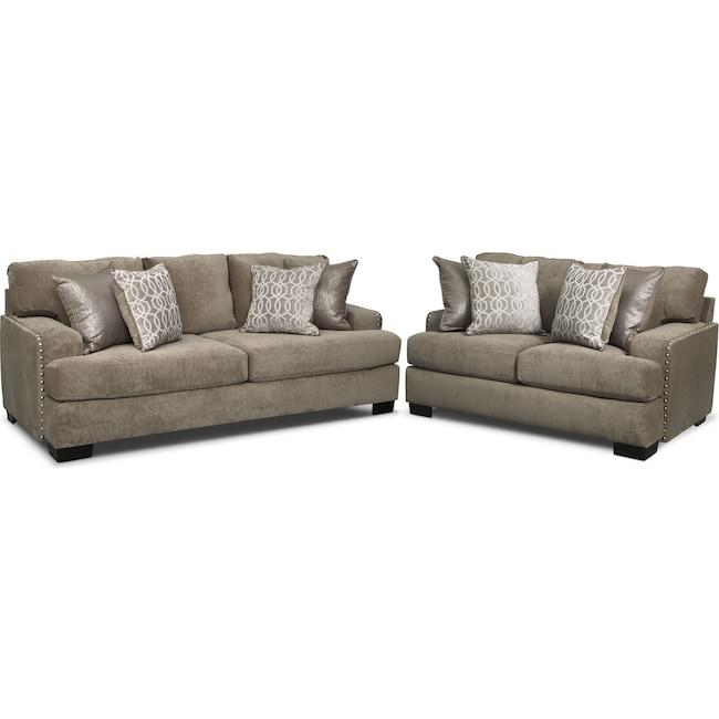 Living Room Furniture - Tempo Sofa and Loveseat Set - Platinum