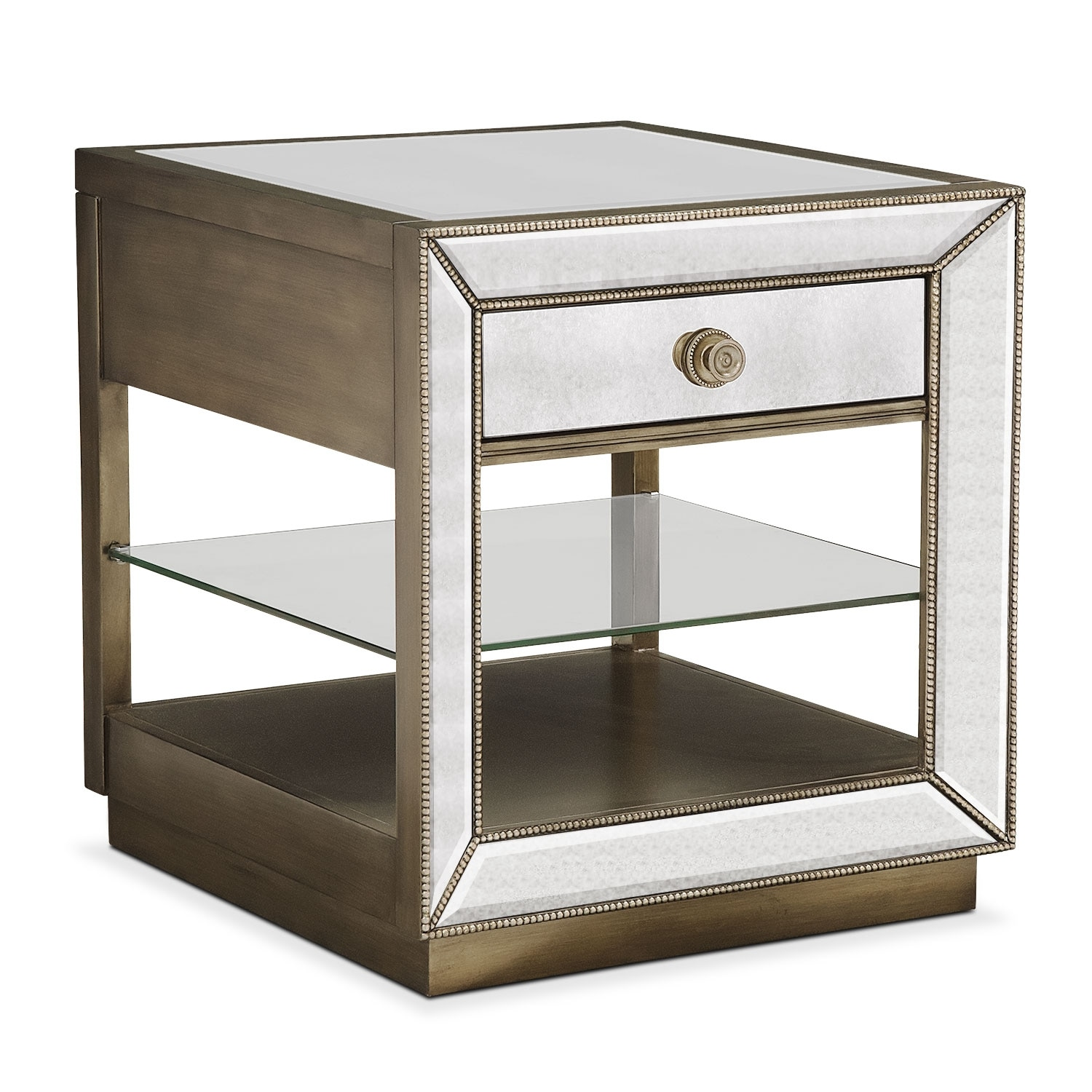 Reflection End Table   Antiqued Mirror