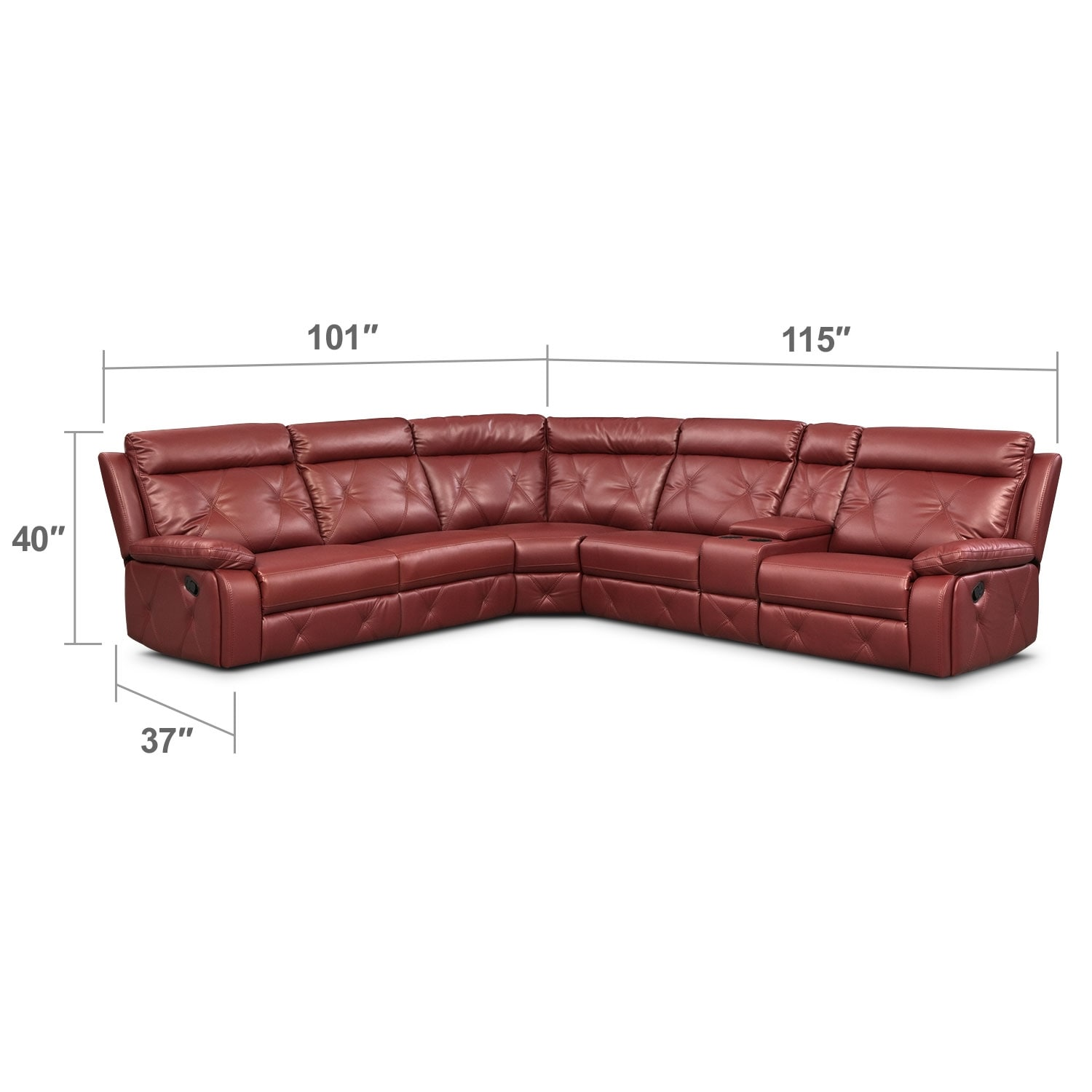 Living Room Furniture - Dante 6-Piece Reclining Sectional with 2 Reclining Seats - Red