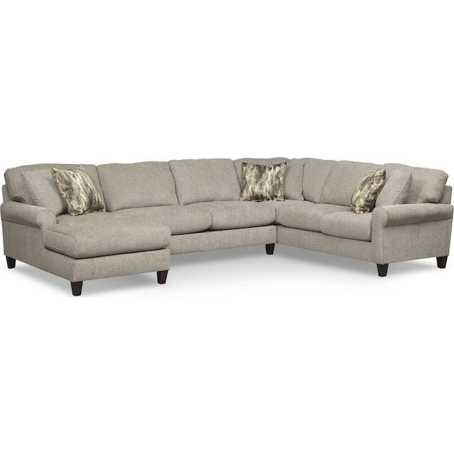 Living Room Furniture - Karma 3-Piece Left-Facing Sectional - Mink