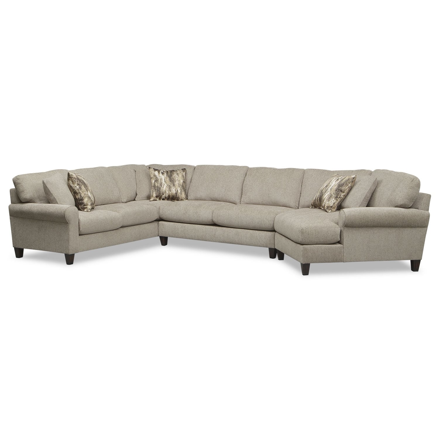 Karma 3-Piece Sectional with Right-Facing Cuddler - Mink