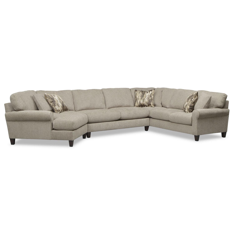 Living Room Furniture - Karma 3-Piece Sectional with Left-Facing Cuddler - Mink