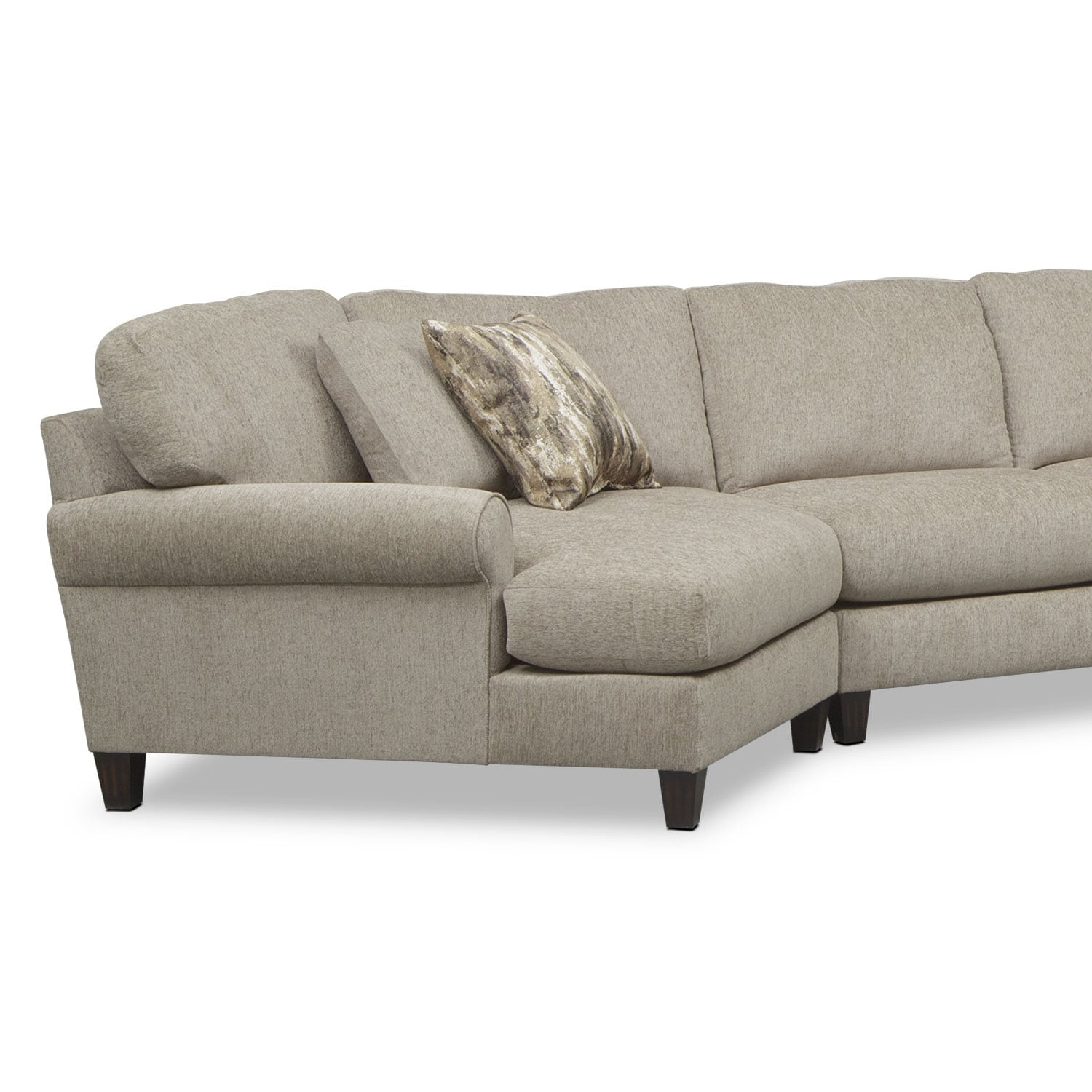 Karma 3 Piece Sectional with Left Facing Cuddler Mink