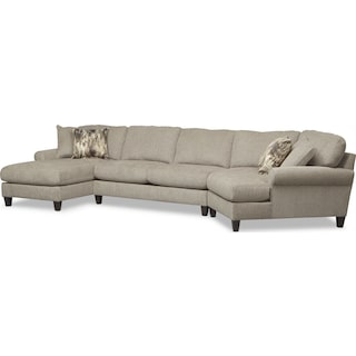Karma 3-Piece Sectional with Right-Facing Cuddler and Left-Facing Chaise - Mink