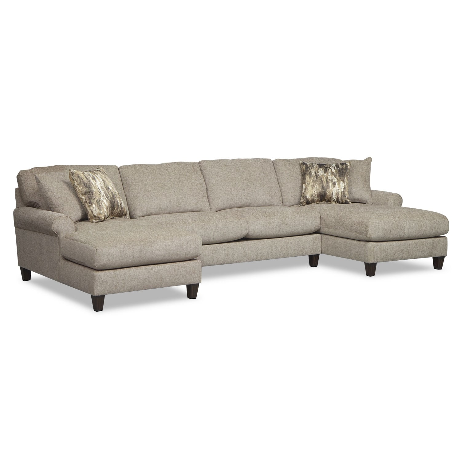 Living Room Chaises Karma 3 Piece Sectional With 2 Chaises Mink Value City Furniture
