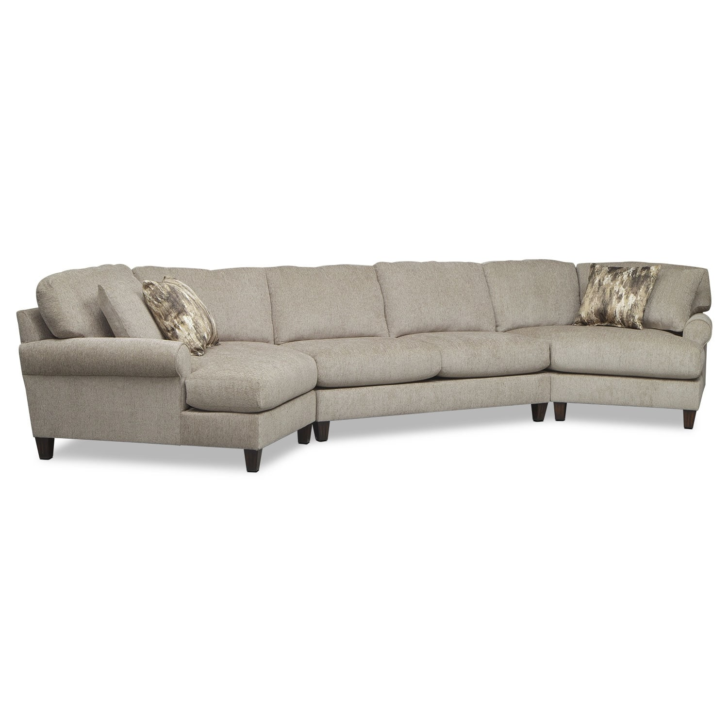 Karma 3 Piece Sectional with 2 Cuddlers Mink