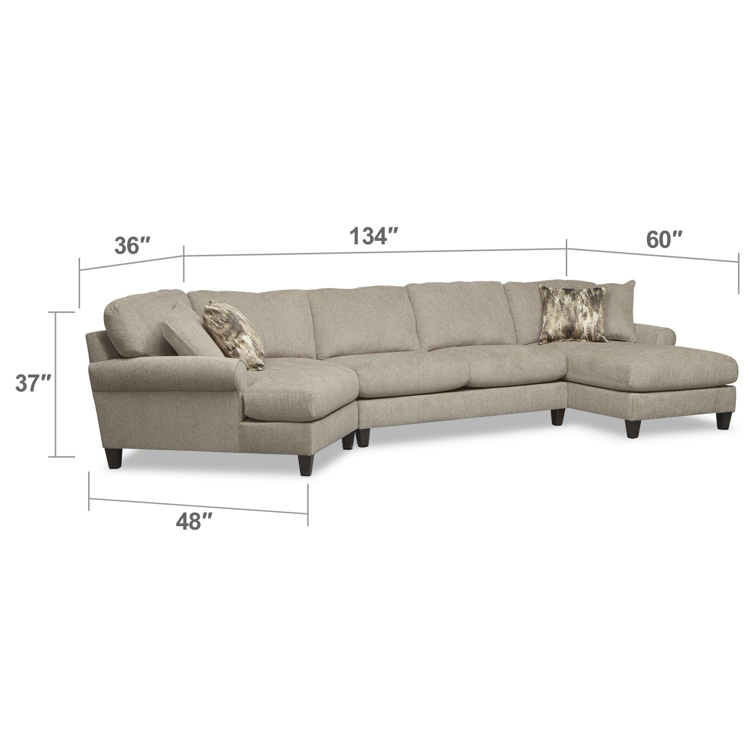 Living Room Furniture - Karma 3-Piece Sectional with Left-Facing Cuddler and Right-Facing Chaise - Mink