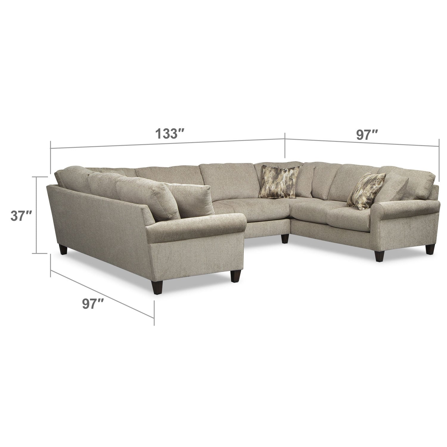 Living Room Furniture - Karma 3-Piece Sectional - Mink