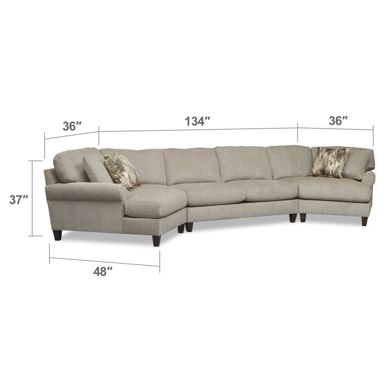 Living Room Furniture - Karma 3-Piece Sectional with 2 Cuddlers - Mink