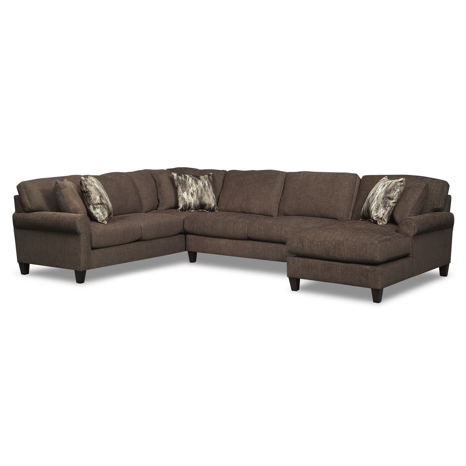 Living Room Furniture - Karma Smoke 3 Pc. Sectional with Right-Facing Chaise