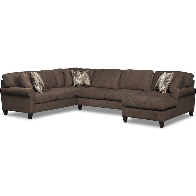 Living Room Furniture - Karma 3-Piece Right-Facing Sectional - Smoke