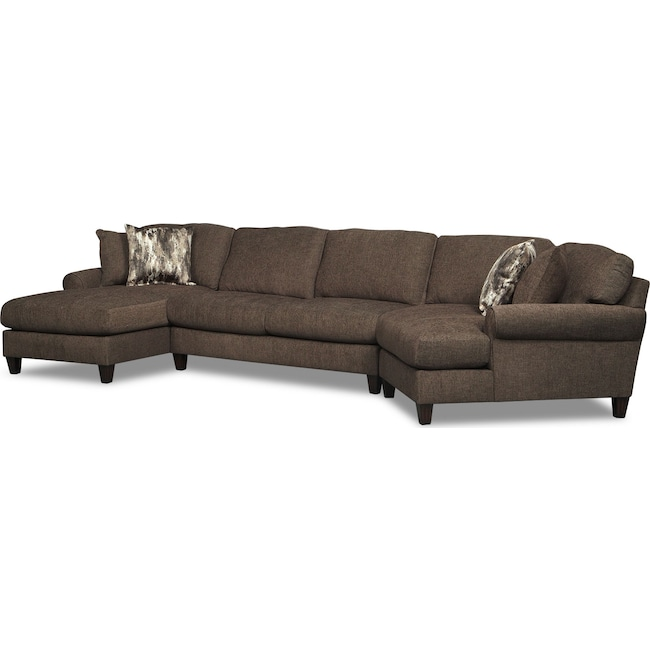 Living Room Furniture - Karma 3-Piece Sectional with Left-Facing Chaise and Right-Facing Cuddler - Smoke
