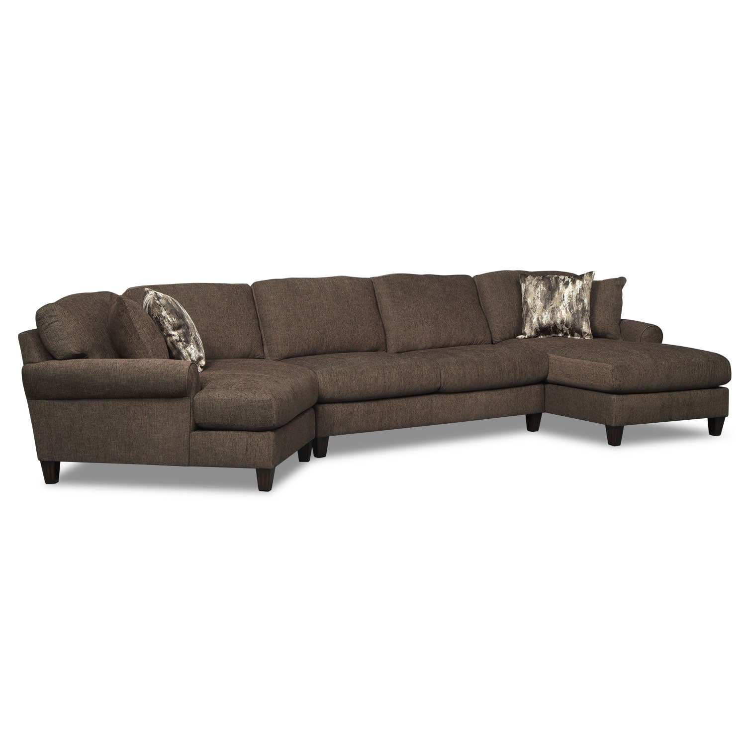 Living Room Furniture - Karma 3-Piece Sectional with Right-Facing Chaise and Left-Facing Cuddler - Smoke