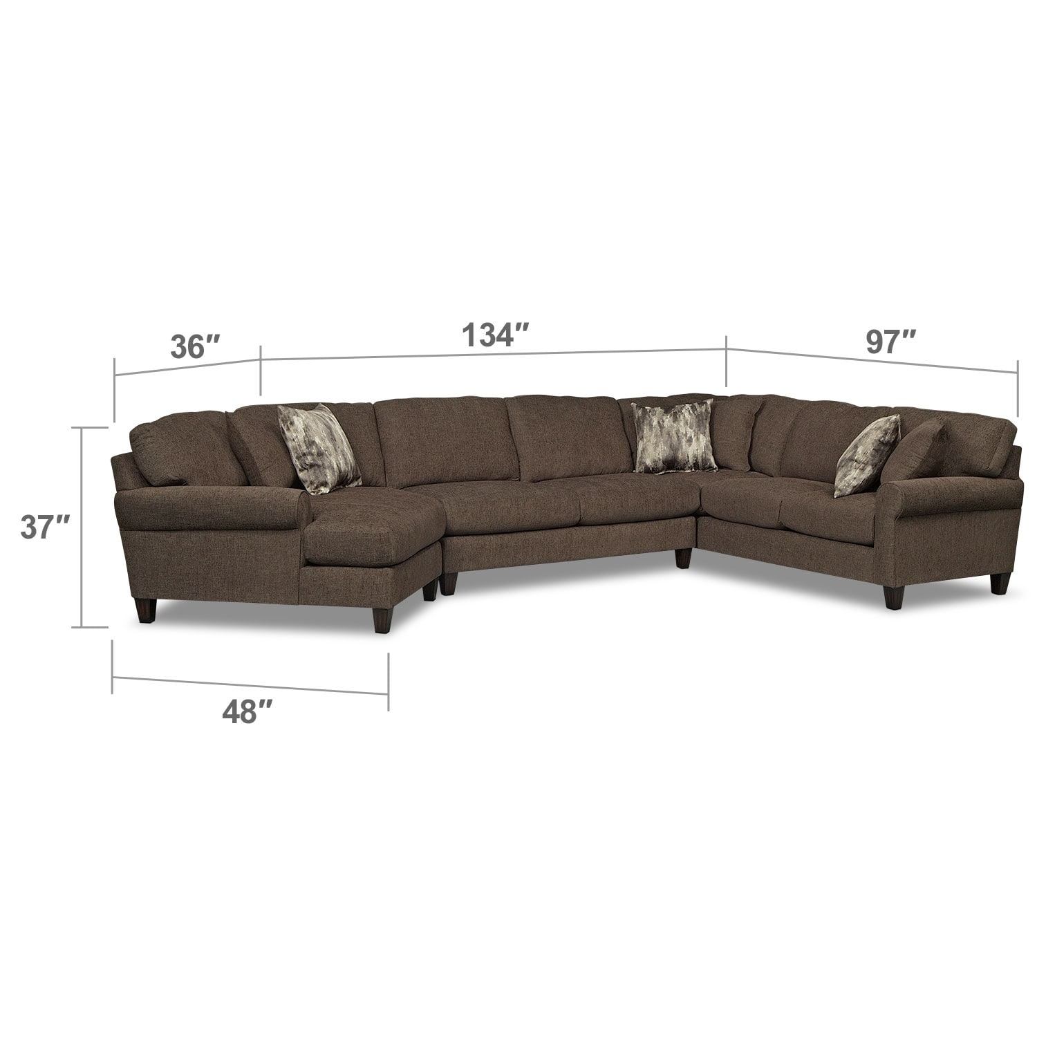 Living Room Furniture - Karma 3-Piece Sectional with Left-Facing Cuddler - Smoke