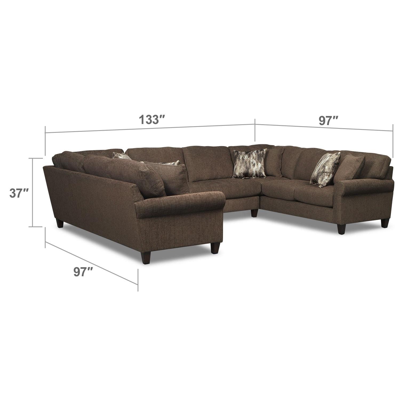 Living Room Furniture - Karma 3-Piece Sectional - Smoke