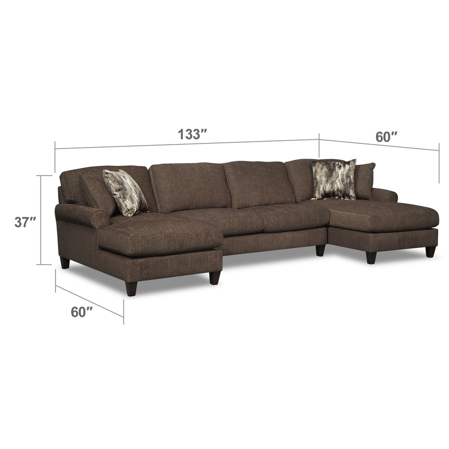 Living Room Furniture - Karma Smoke 3 Pc. Sectional with 2 Chaises