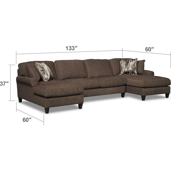 Living Room Furniture - Karma 3-Piece Sectional with 2 Chaises - Smoke