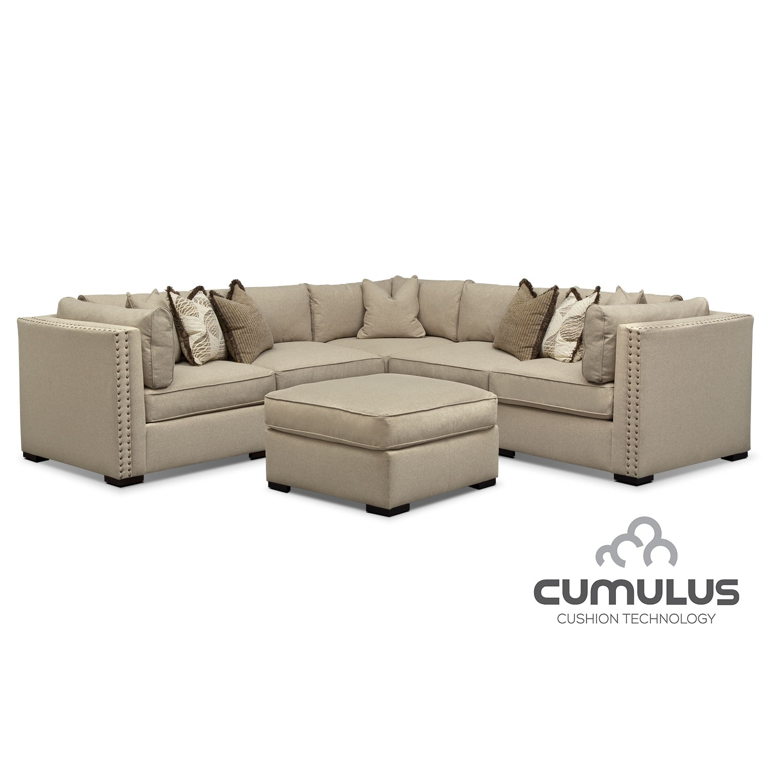Living Room Furniture - Athens 5-Piece Sectional and Cocktail Ottoman Set - Taupe
