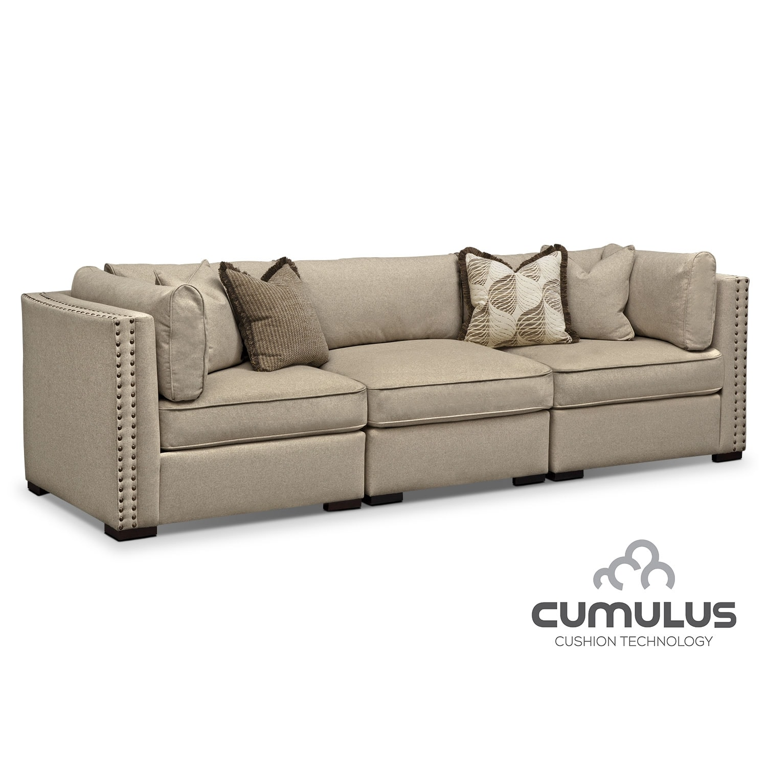 Living Room Furniture - Athens 3-Piece Sectional - Taupe