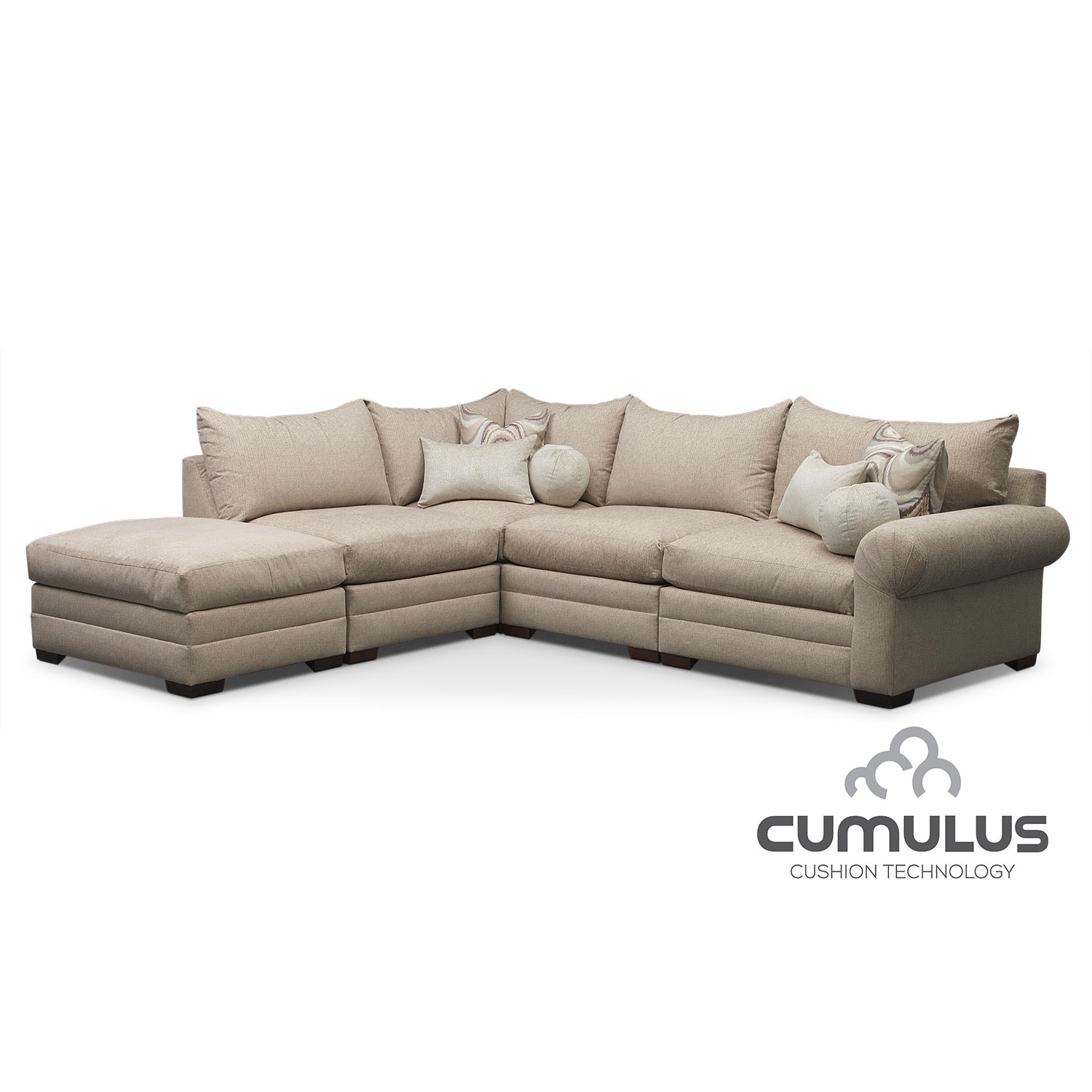 Living Room Furniture - Wilshire 5-Piece Left-Facing Sectional - Cream