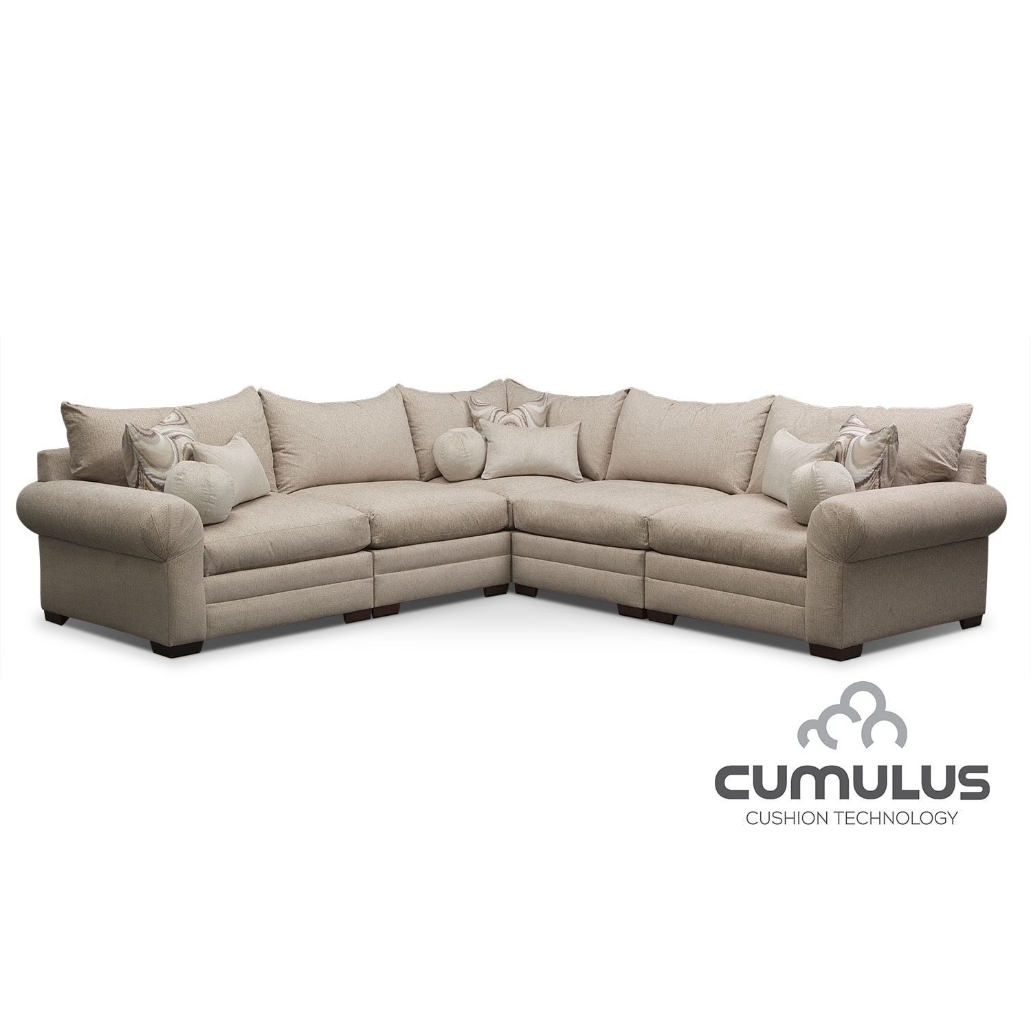 Living Room Furniture - Wilshire 5-Piece Sectional - Cream