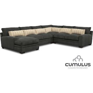 Ventura 4-Piece Sectional with Left-Facing Chaise - Charcoal