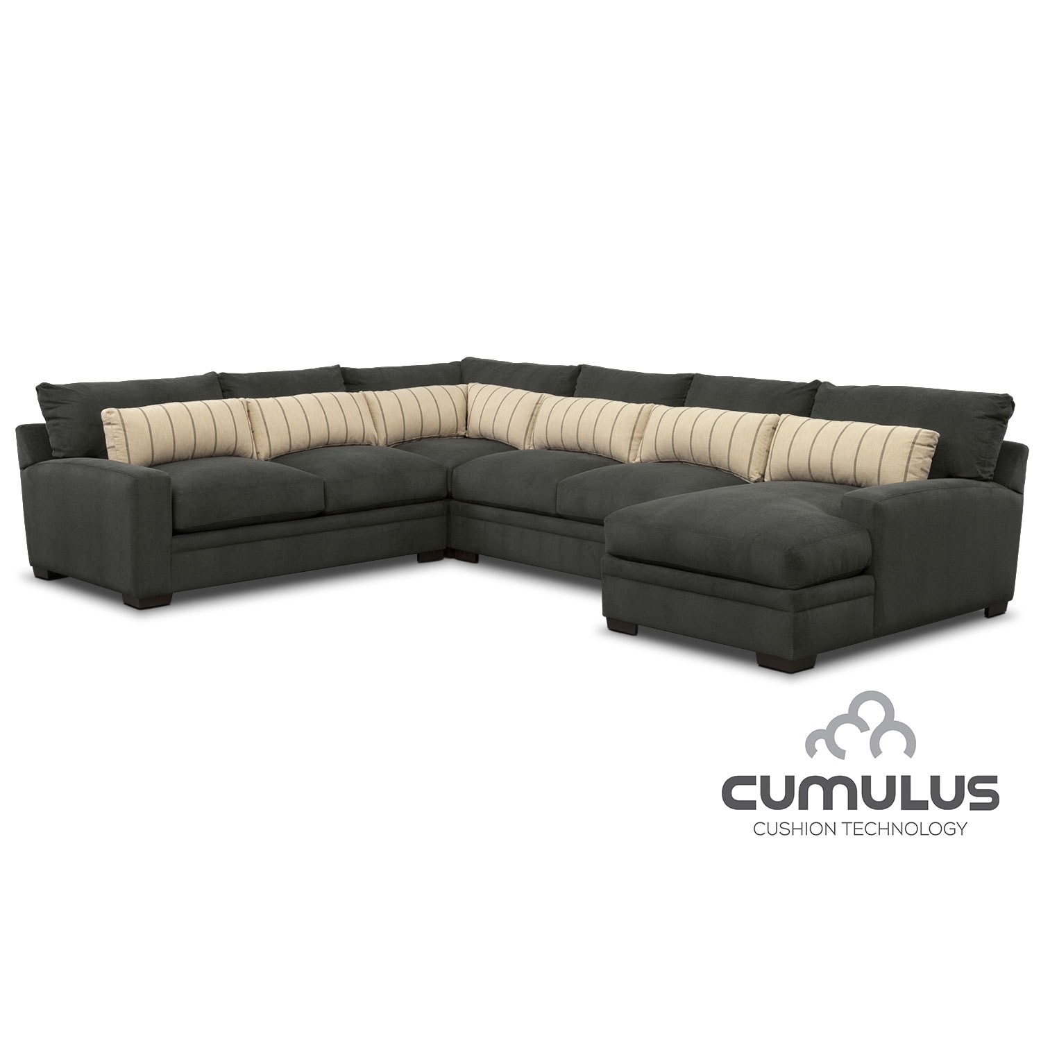 Ventura 4 Piece Sectional with Right Facing Chaise Charcoal