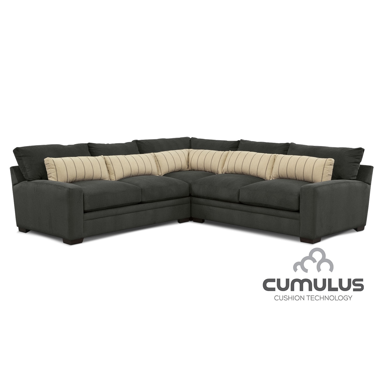 Ventura 3-Piece Sectional - Charcoal