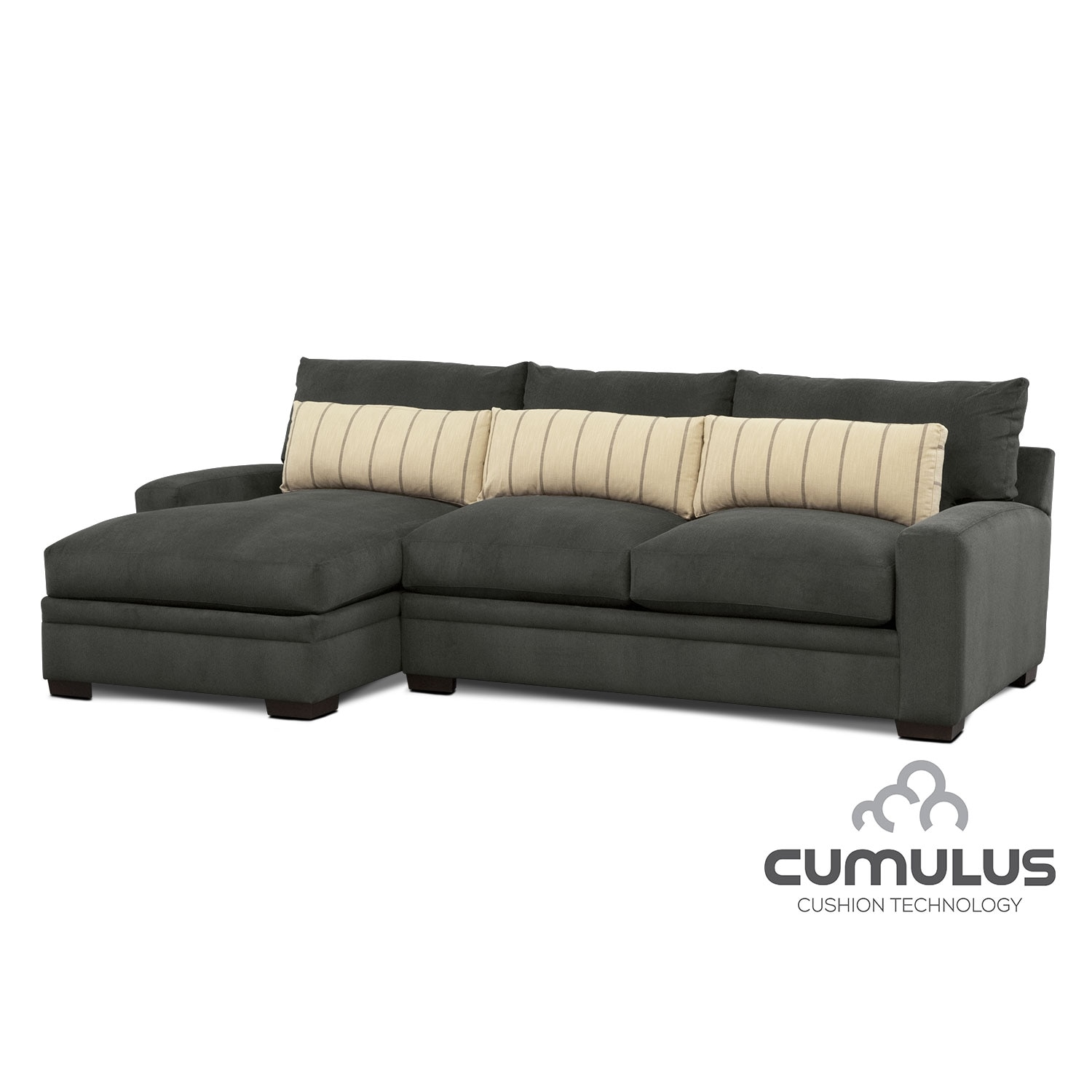 Ventura 2-Piece Sectional with Left-Facing Chaise - Charcoal