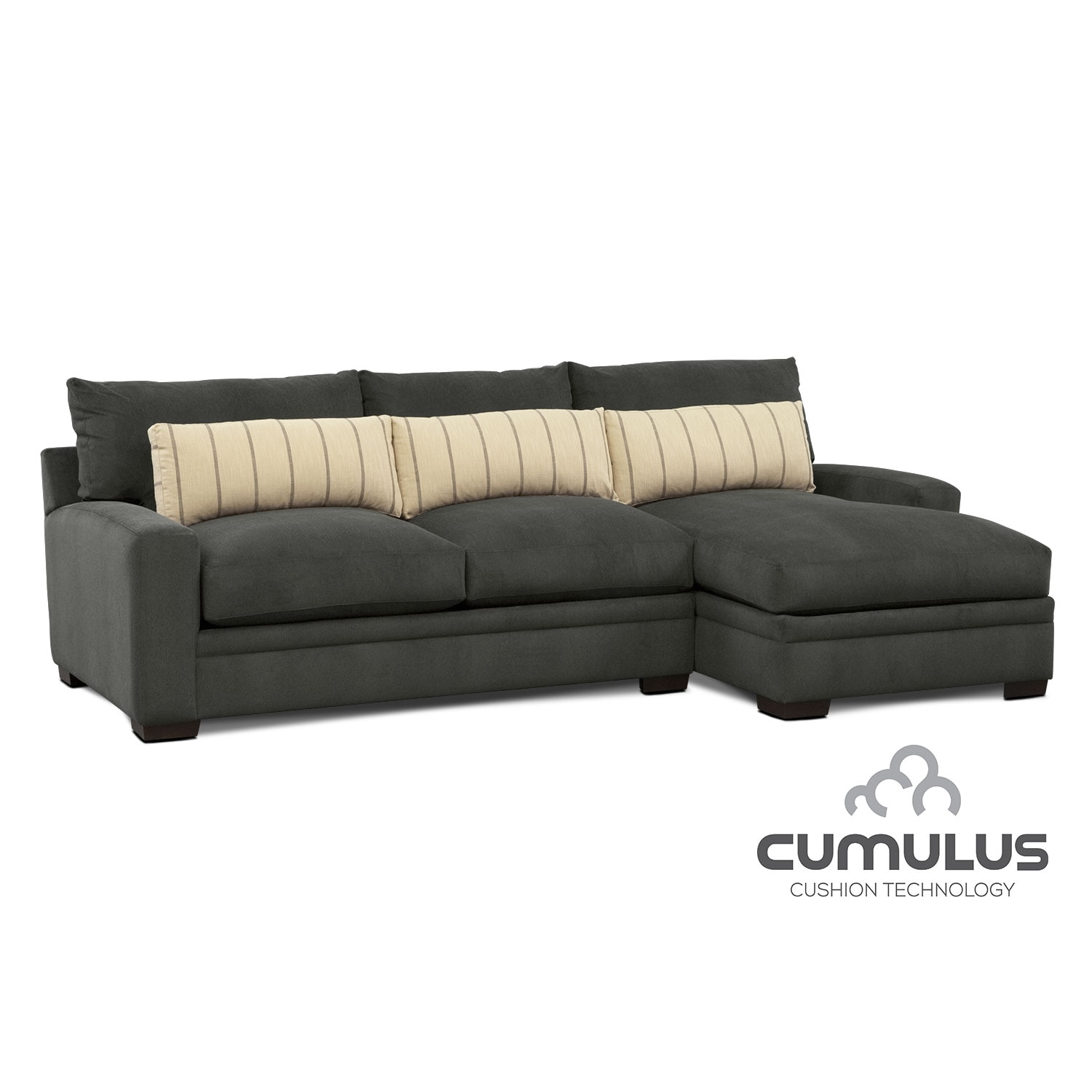 Living Room Furniture - Ventura 2-Piece Sectional with Right-Facing Chaise - Charcoal