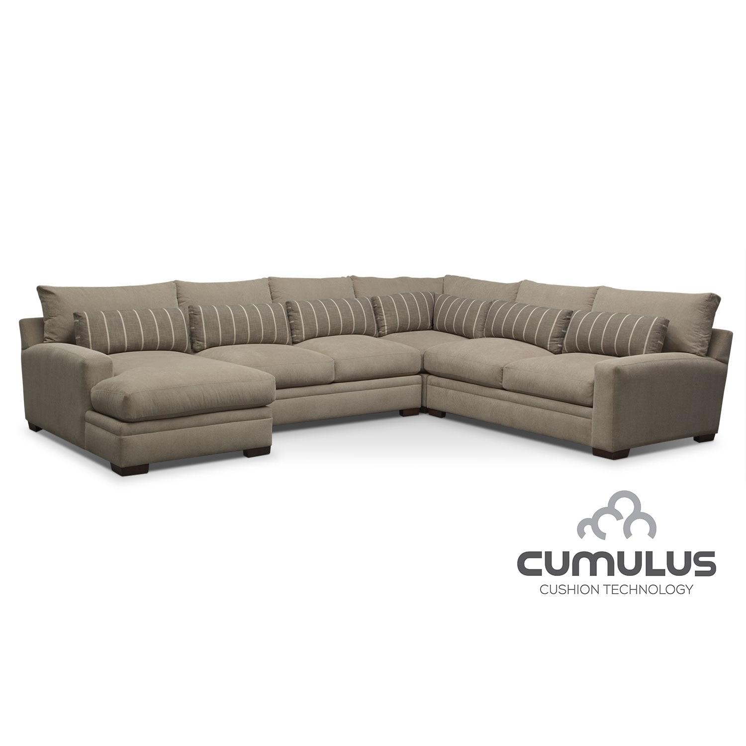 Living Room Furniture - Ventura 4-Piece Left-Facing Sectional - Buff