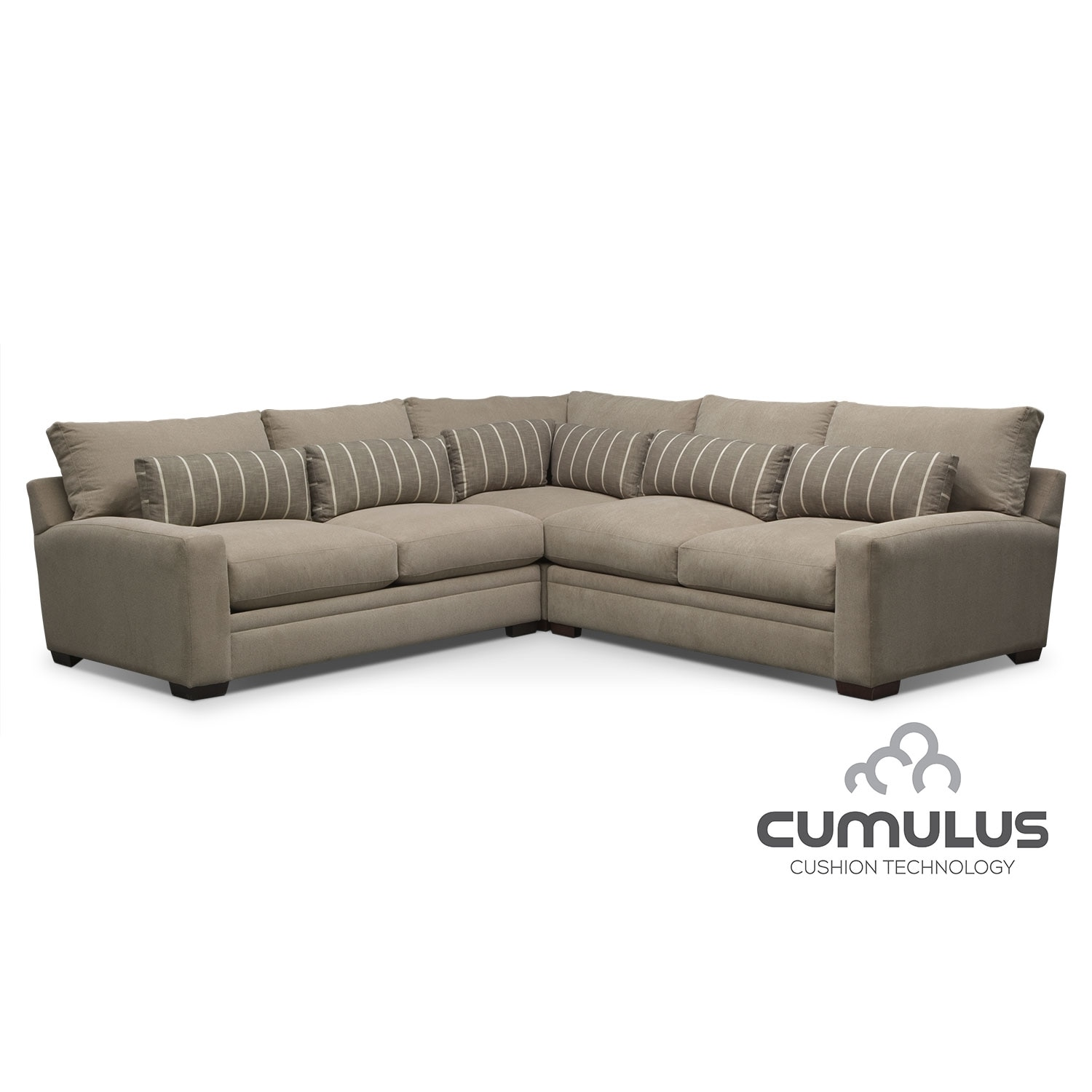 Living Room Furniture - Ventura 3-Piece Sectional - Buff