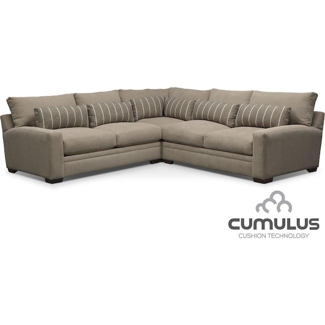 Living Room Furniture - Ventura 3-Piece Sectional - Buff